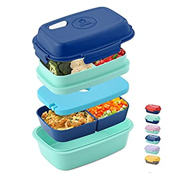 Ultimate Bento Box - Lunch Box for Kids & Adults - 100% Leakproof - Multi Compartment Food Container with Removable Containers and Ice Pack - Microwave & Dishwasher Safe  Blue Green Blue