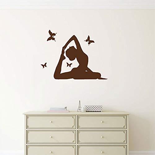 Tianpengyuanshuai Wandsticker Yoga Studio Wandsticker van vinyl Meisjes Home Decoration Slaapkamer Border van hout Wandbehang