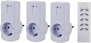 ZEYUN Enchufes Inalámbricos con control remoto (3+1) para interiores, 3680 vatios, alcance 30 m, con Control Remoto, Blanc...