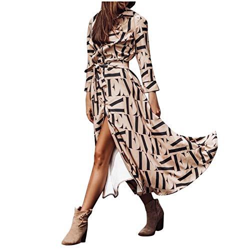 SUMSAYEI Damen Kleider Boho Sommerkleid V-Ausschnitt Maxikleid Kurzarm Strandkleid Lang mit Schlitz