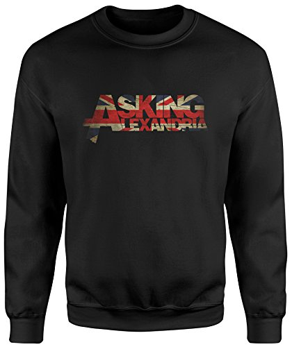 LaMAGLIERIA Unisex-Sweatshirt Asking Alexandria Uk Flag - Set-In Sweatshirt, M, Schwarz