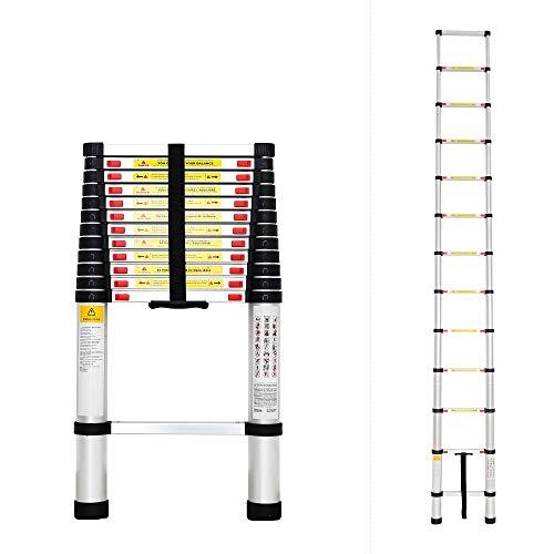 Todeco - Escalera Telescópica, Escalera Plegable - Carga máxima: 150 kg - Estándar/Certificación: EN131 - 3,8 Metro(s), EN 131