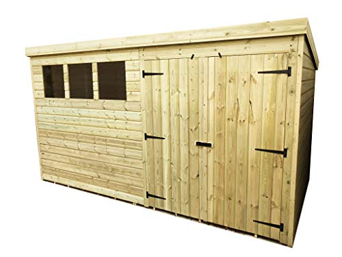 iLikeSheds 12 x 4 Pressure Treated Tongue And Groove Pent Shed With 3 Windows And Double Doors