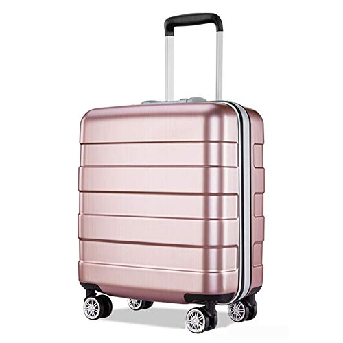 RSTJ-Sjef 18 Inch Carry on - Expandable (ABS + PC) Hardside Luggage - Lightweight Durable Suitcase with 4-Rolling Spinner Wheels for Women (Rose Gold)