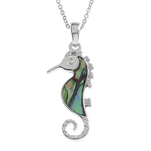 Collana da donna, con ciondolo a forma di cavalluccio marino, paua e abalone, 40 mm, colore: blu con tonalità verde, catenina 45,72 cm, in argento, da Bella Mira