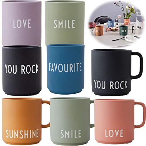 LS-LebenStil AJ Porzellan Kaffeebecher You Rock Schwarz Design Letters Kaffeetasse Deko Henkel-Becher