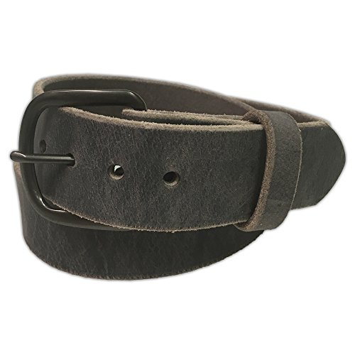 Jean Belt, Grey Crazy Horse Water Buffalo Leather, 9 Ounce - Gun Metal Buckle - Handmade in the USA! By Exos - Size: 40