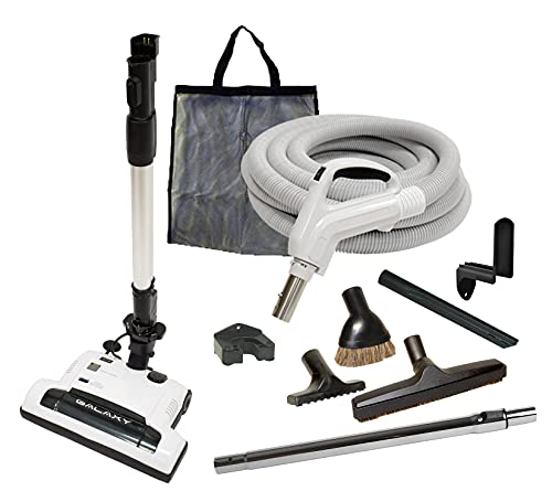 35' Deluxe Galaxy Central Vacuum Kit with Hose, Power Head & Wands - Black - Works with All Brands of Central Vacuum Units