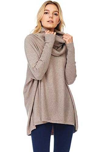 Alexander + David Womens Casual Cowl Pullover Turtle Neck - Sweater Oversized W Long Sleeves (Mocha, Small/Medium)