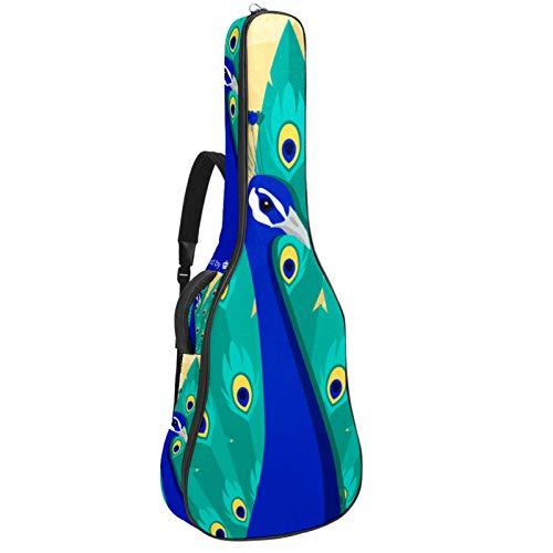 Funda para Guitarra Dibujos animados hermoso pavo real Bolsa Guitarra Acolchada 10mm con Un Bolsillo Trasero para Libros de Música 109x43x12cm