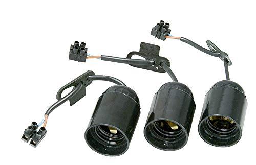 Renovier-Fassung, vormontiert mit ca. 13 cm sichtbarer Leitung H03VV-F 2x0,75mm², Lüsterklemme und Zugentlastung, 3 Stück in Verpackung, E27, max.60W, Farbe schwarz
