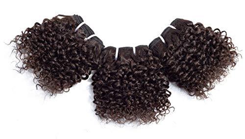 Chisu Peruvian Virgin Hair Kinky Curly Human Hair Weave Bundles 6 Inch Short-Cut Bob Style Light Brown Color(3 bundles 6 inches+1 piece crown closure = about 119grams)