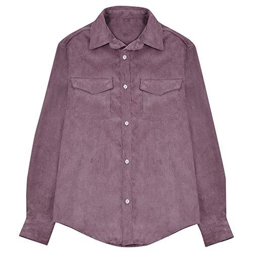 Preisvergleich Produktbild kolila Herren Shirts Lässige Einfarbig Revers Knöpfe Langarmshirts Hemd Weicher Tasche