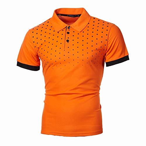 CFWL Sommer T-Shirt Herren Kurzarmhemd Mode Kurzarm Bedruckt Schmal Geschnittene Kurzarm Sommer Freizeit Men´S Shirt MusteräRmel Herren-Hemd Slim-Fit Hemden Hemd Slim-Fit Hemden Orange S