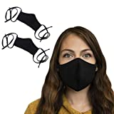 Cotton Face Masks with Long Tie Behind Straps   Dust Mask for Travel & Work   Black   2 Pack