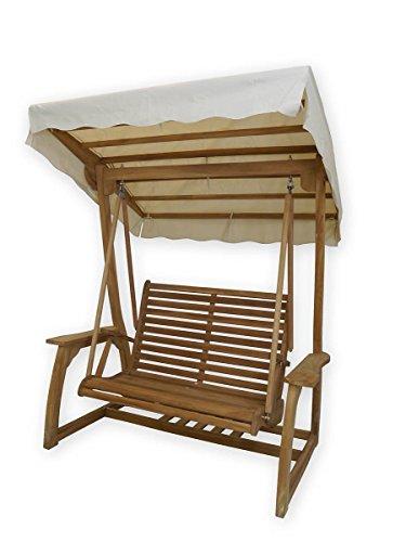 Antike Fundgrube Hollywoodschaukel 2-Sitzer massiv Teakholz | Gartenschaukel Gartenmöbel | B: 178 cm (3661)