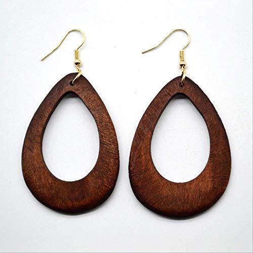 Pendientes para mujer Juegos de aros Pendientes de madera para mujeres Vintage Simple para niñas Accesorios de arte de regalo de fiestaMarrón