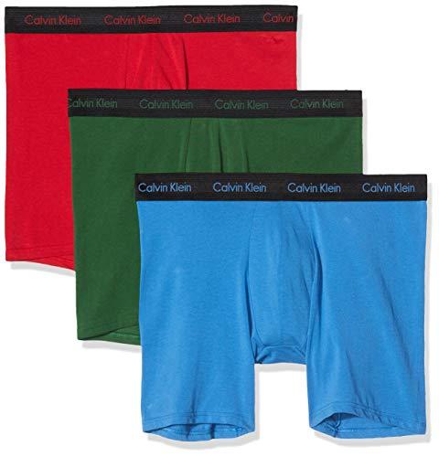 Calvin Klein Boxer Brief 3pk, Azul (Eden/Vallarta Blue/Temper W/B WB Evb), Large (Pack de 2) para Hombre