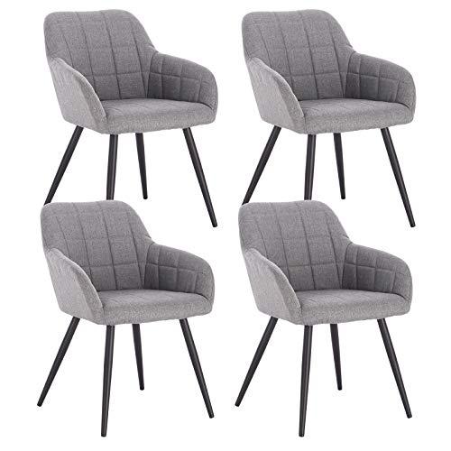 WOLTU 4 x Esszimmerstühle 4er Set Esszimmerstuhl Küchenstuhl Polsterstuhl Design Stuhl mit Armlehne, mit Sitzfläche aus Leinen, Gestell aus Metall, Hellgrau, BH107hgr-4