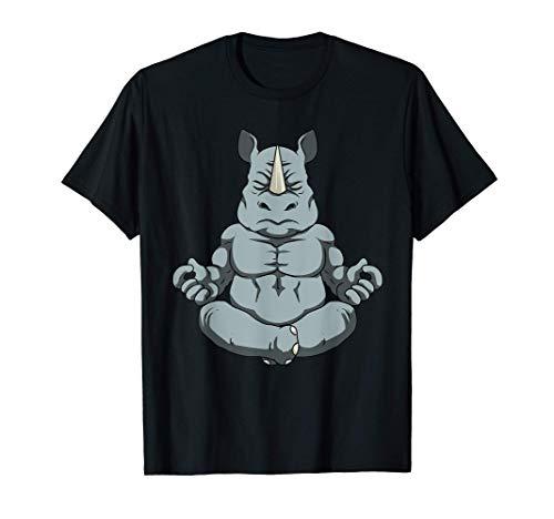 Camisa de meditación Hombre Rhinoceros Yoga Gift Hombre Camiseta
