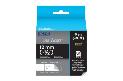 Epson LabelWorks Standard LC Tape Cartridge ~1/2-Inch White on Black (LC-4BWV9)