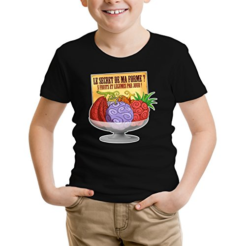 T-Shirt Enfant Noir One Piece parodique Fruit du Démon : Le Secret de la Forme des Pirates de Grand Line ! (Parodie One Piece)