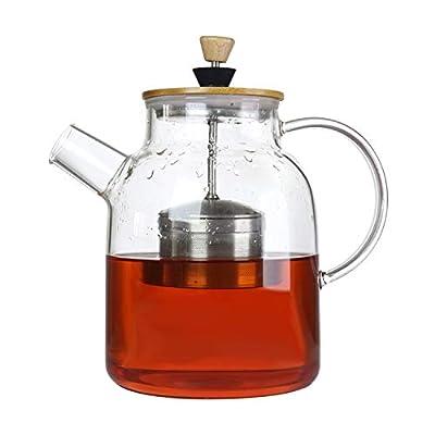 64oz Glass Tea Kettle,Tea Maker with SUS304 Tea Infuser & Bamboo Lid,Stovetop Safe Tea Pot for Loose Leaf Tea,Teabags,Herbal Tea,Cold Coffee,Tea Brewer for Loose Tea