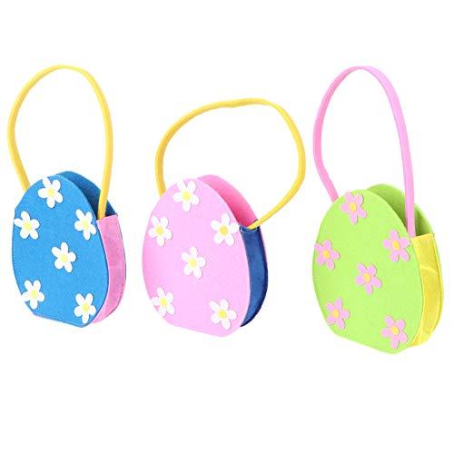 PRETYZOOM 3 Bolsas de Regalo de Pascua Flores de Primavera Búsqueda de Huevos de Pascua Canasta para Cumpleaños Bodas Baby Showers Despedidas de Soltera Suministros para Fiestas (Azul Rosa