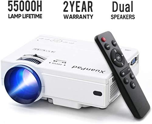 XuanPad Mini Projecteur 2400 Lumens Vidéoprojecteur Portable Retroprojecteur, 55000 Heures Multimédia Home Cinéma Projecteur, Compatible avec Full HD 1080 P
