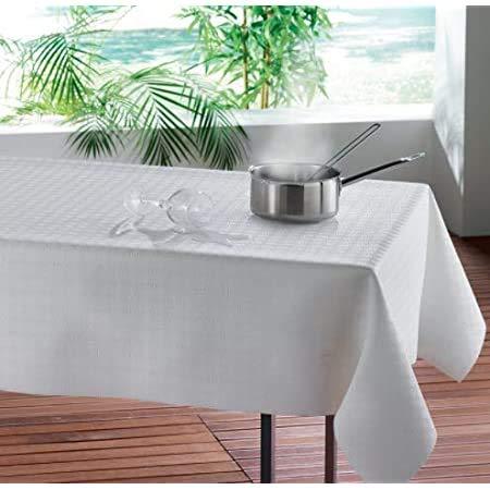 Protège Table Bulgomme - Nappe Rectangle 140 X 190 cm - Blanc