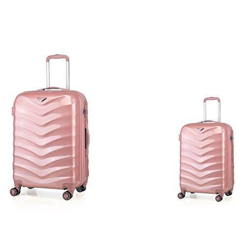 ABISTAB Verage Hartschalenkoffer Seagull 2er Koffer-Set S+L (55-75 cm) 4 Räder Rosegold TSA-Schloss, 2 teilig Hartschale-Reisekoffer-Set mit Handgepäck...