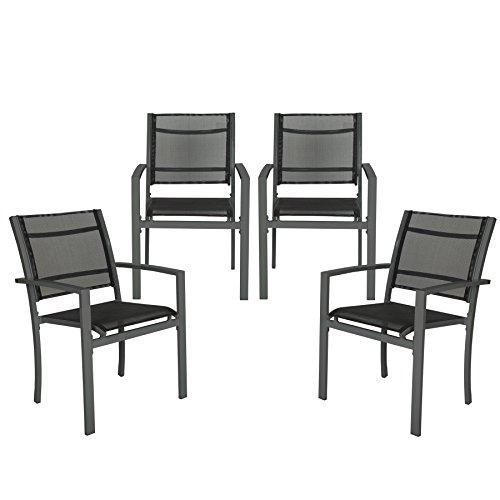 TecTake Set di 4 sedie da giardino poltrona campeggio metallo - disponibile in diversi colori - (Grigio scuro | no. 402066)