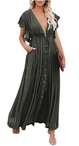 ZIYYOOHY Damen Boho Bikini Cover Up Strandkleid Sommerkleid Maxikleid Chiffon - Weiß Spitze (One Size, 3018 Armeegrün)