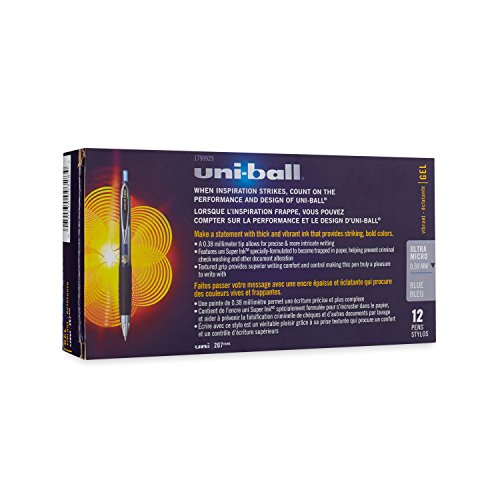 uni-ball 207 Retractable Gel Pens, Ultra Micro Point (0.38mm), Blue, 12 Count
