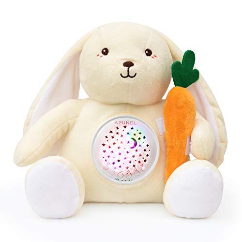 APUNOL Peluche Bebés Musical, Recargable Proyector Bebes Luces y Musica Juguete Conejo Regalos para Bebes Recien Nacidos con Chupete para Dormer, Sensor de llanto y 18 Canciones de Cuna
