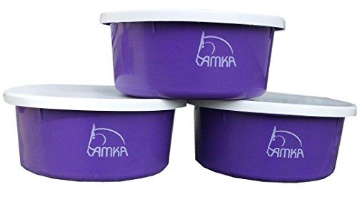 AMKA Futterschale Müslischale Leckschüssel 3er Set 2 Liter mit Deckel für Futterschüssel Wasserschüssel für Pferde, Hunde Tiere, Farbe: lila