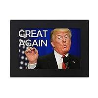 アメリカのトランプの面白いおかしい画像 デスクトップフォトフレーム画像ブラックは、芸術絵画7 x 9インチ