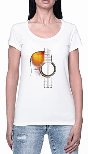 Acústico Guitarra Camiseta para Mujer Blanca De Manga Corta Ligera Informal con Cuello Redondo Women's Tshirt White