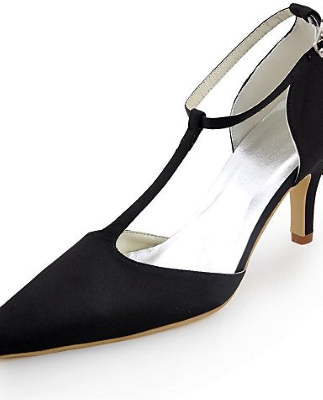 IKLMK GGX Schuhe Seide Stilettferse Fersen spitze Zehe Fersen Hochzeit Partei der Frauen&Abend Kleid schwarz