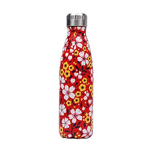 mingtian Botella de Agua Floral de 500 ml, Frasco de Acero Inoxidable, Grabado con láser, Nombre, Termo, Botella de Bebida, Gimnasio, Deporte, agitador, Taza de café 18