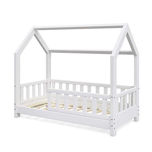 VitaliSpa Kinderbett Hausbett Wiki 70x140cm weiß Kinder Bett Holz Haus Schlafen Hausbett Spielbett Inkl. Lattenrost und Zaun Fallschutzgitter
