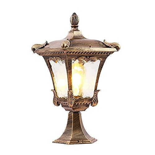SDFDSSR Lámpara de Pilar de iluminación Moderna para Patio Pantalla de Vidrio Transparente Iluminación de Poste Exterior IP65 Lámpara Impermeable al Aire Libre Lámpara de Mesa de césped de Aluminio