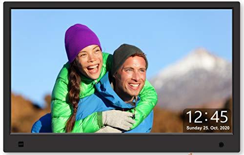 Cytem 13 Zoll Digitaler Bilderrahmen | 16:9 FHD-IPS Display 1920x1080 | Bewegungssensor | Transparente Datum-Uhr | korrekte Bilddrehung und Größenanpassung | Gemischte Diaschau | min.10.000 Fotos | Sw