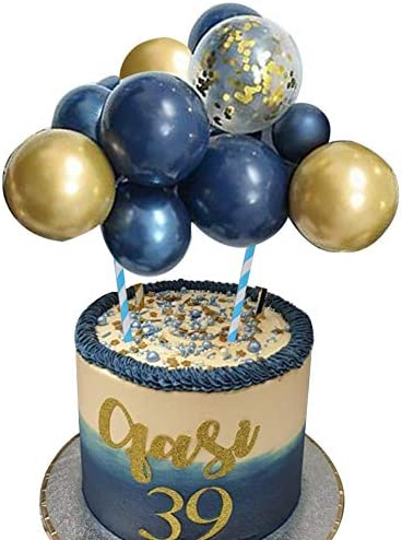 Wocuz Navy Gold Balloon Cloud Cake Topper 10pcs 5 in Navy Blue Gold Confetti Gold Metallic Chrome product image