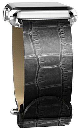 Xdoria XD439701 -Cinturino per Apple Watch 42 mm (Nero Effetto Coccodrillo)