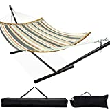 Zupapa Quick Dry Hammock with Stand 450lbs Capacity, 12 Feet Hammock Stand with Curved Spreader Bar 2 Storage Bags Included Indoor Outdoor Use(Coffee Stripes)