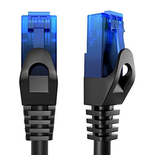 KabelDirekt – 15m – Cable de Ethernet y Cable de Parche/de Red (Conector RJ45, para máxima Velocidad de Fibra óptica, Ideal para Redes gigabit/LAN, Router/módems, Conectores Switch, Negro)
