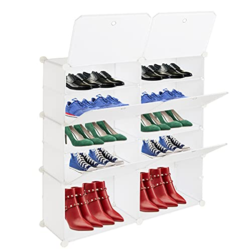 EastVita Cajas de almacenamiento de zapatos de plástico, caja de almacenamiento apilable, organizador de zapatos