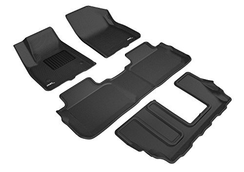 3D MAXpider All-Weather Floor Mats for GMC Acadia 2017 2018 2019 2020 (2nd Row Bench Seat) Custom Fit Car Floor Liners, Kagu Series (1st, 2nd & 3rd Row, Black)