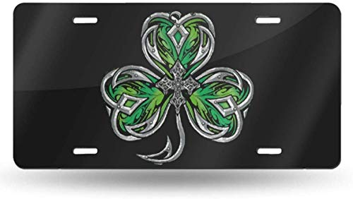 WSEDRF Celtic Shamrock Novelty License Plate Cover License Plate Tag Sign Front Decorative Car Accessories 6'x12'